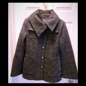 Mackage plaid wool and leather jacket